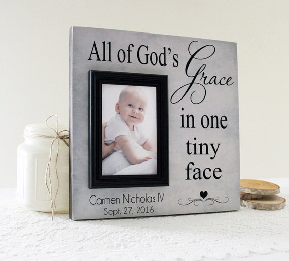 All of God\'s Grace In One Tiny Face Picture Frame, Personalized Baby ...