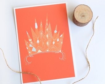 Crown Print, Inspirational Wall Art, Eclectic Home Decor, Bohemian Room Decor