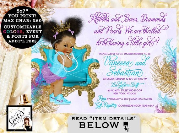 Turquoise Purple U0026 Gold Baby Shower Invitation, African American Baby Girl  Tiara, Princess, Ribbons Bows Diamonds Pearls. Afro Puffs. Gvites