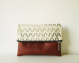 Geometric Clutch purse, Pouch, Wristlet, Canvas, Vegan Leather