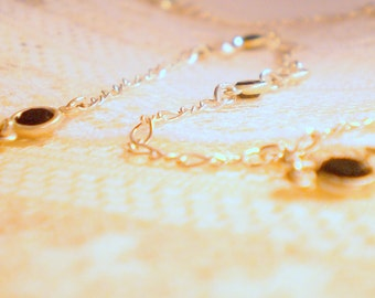 Vintage Sterling Silver Chain Necklace With Glass Accents