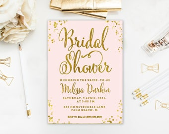 Bridal Shower Invitation, Blush Pink and Gold Glitter, Pink and gold bridal shower invitation, Wedding shower, Personalized, Printable