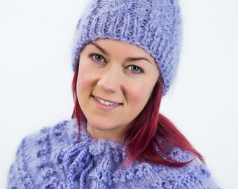 Purple knitted hat  with plaits and handmade pom-pom
