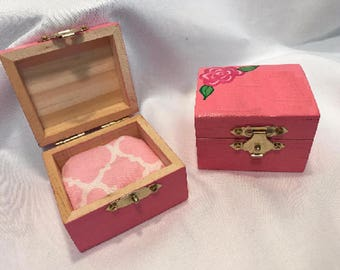 Pink badge box, jewelry box, trinket box-Personalized Free!