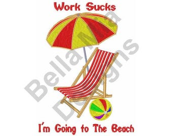 Beach - Machine Embroidery Design, Deck Chair With Umbrella
