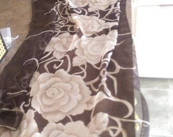 Long Brown Flowered Polyester Chiffon Ladies Scarf