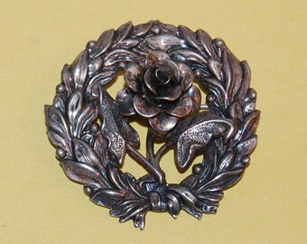 Jewelart Sterling Silver Art Nouveau Rose Floral Wreath Brooch Vintage Elaborate Pin