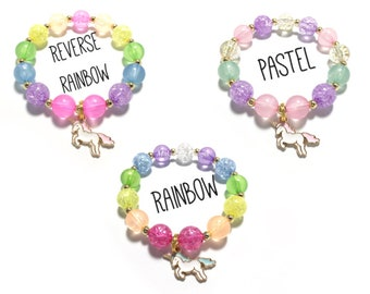 Toddler or Girls Small Beaded Unicorn Charm Bracelet - Pink, Purple, Mint and Gold Bracelet - Rainbow Unicorn Bracelet - Unicorn Party Favor