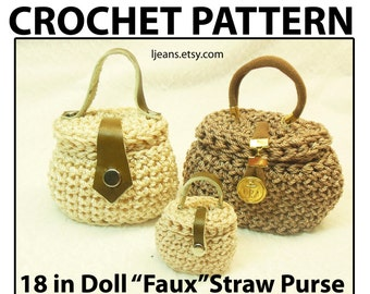 "18 in Doll Crochet ""Faux"" Straw Purse with Hinged Lid  Pattern"