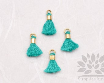 T010-GN// Green Tiny 10mm Tassel, 6 pcs
