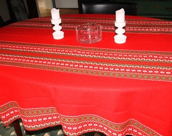 Mid century Norwegian table cloth linen red Christmas