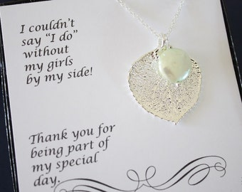 2 Leaf Bridesmaid Necklace Gifts Mint Pearl, Leaf Necklaces, Bridesmaid Pendant, Silver Leaf, Real Leaf,  Bridal Gift, Thank You Card