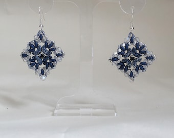 beaded earrings blue silver and black colours arcos beads superduo beads minos beads seed beads chaton montees bicone beads diamond shaped
