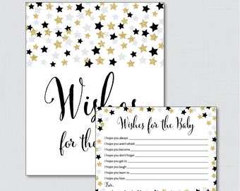 Star Wishes for Baby Baby Shower  - Printable Well Wishes for Baby Cards and Sign - Instant Download- Black Gold Little Star Wishes 0028-K