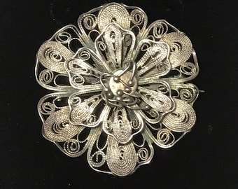 Malaysia Sterling Silver Cannetille Filigree Flower Brooch