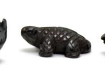 Miniature Wolf Lizard Frog Collection Real Hematite 155