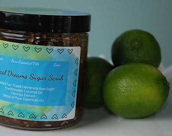 All Natural Exfoliating Tropical Dreams Sugar Scrub with Pure Essential Oils and Coconut Oil