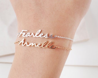 Custom Mantra Bracelet - Custom Name Bracelet - Personalized Baby Name - Bridesmaid Gifts - Quality Silver, Gold, Rose Gold Jewelry-#LA03F62