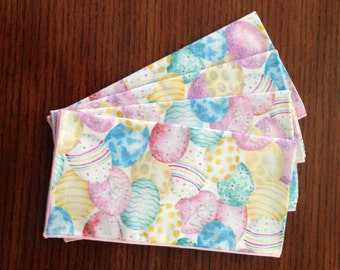 Easter Egg Napkins, Pastel Easter Eggs, Decorated Eggs, Easter Decor, Set of 4 Napkins