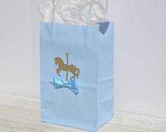 Carousel Horse Theme Favor Bag for Treats, Goodies Baby Blue, Boy Baby Showers, Birthdays, Christening, Baptism Set of 12
