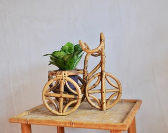 Vintage bamboo plant stand, bamboo bicycle plant pot - boho decor, indoor jungle, cane plant stand, cane planter, bamboo planter, zero waste