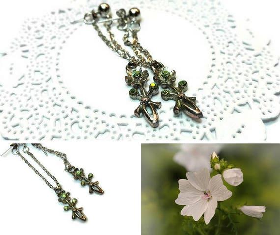 Long dangle, drop earrings, twisted iron chain with flower charm earrings