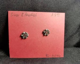 Earrings- stud Amethist and silver