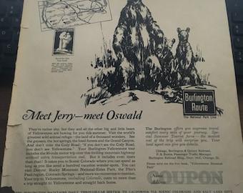 Yellowstone 1930's era ad 11x 14 approx