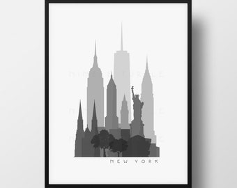 New York Skyline Printable Download  -  Black and White  -  Grayscale  -  Last Minute Gift