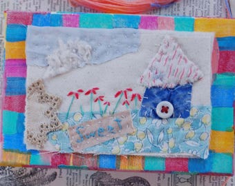 ARTWORK textile ORIGINAL, vintage fabrics with hand embroidery, sweet, house warming, birthday gift