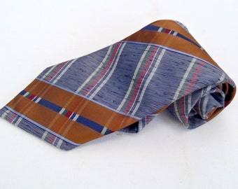 Vintage 1970s Wide Brown Polyester Tie with Plaid Diagonal Stripes