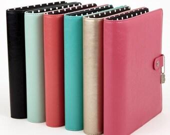 Simple Stories Carpe Diem A-5 Split Leather Planner - Pink. Planner Supplies. Pink Planner. A5 Planner. Gifts for Her.