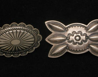 2 vintage Southwestern Native American Concha Belt pieces, silver, 1940s and 1980s