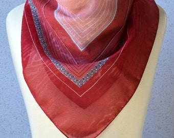 Vintage square scarf: Dark pink, pink, stripes, wood grain