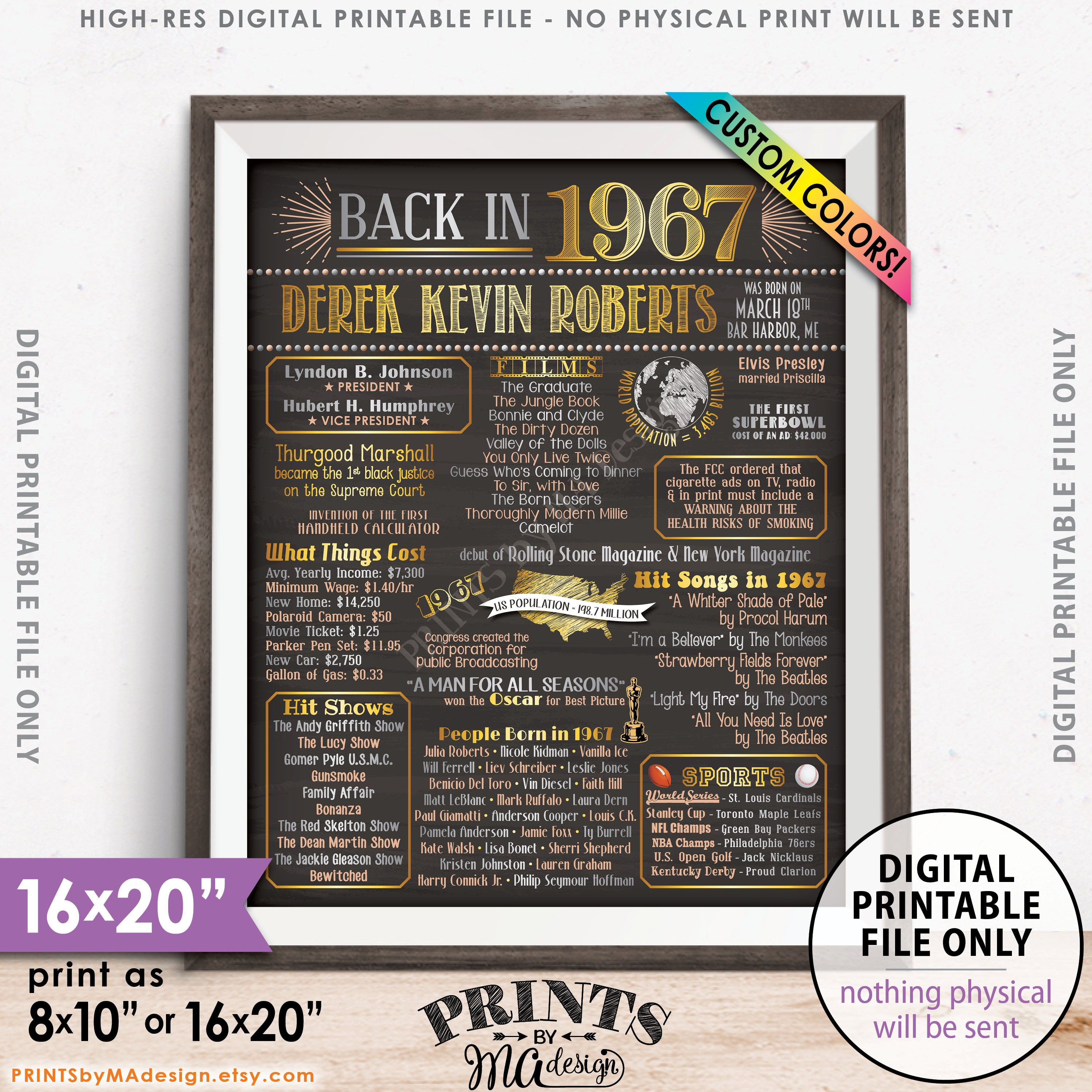 decorative chalkboards for various functions. Flashback To 1967 Poster, Back In Sign, Born Birthday Party Decor, Chalkboard Style PRINTABLE 8x10/16x20\u201d Poster Decorative Chalkboards For Various Functions