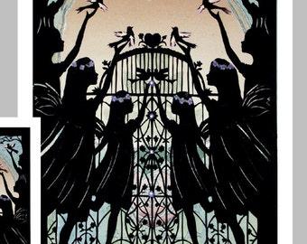Angels Sympathy Card , Bereavement Silhouette Card ,  Paper Cut Condolence Card