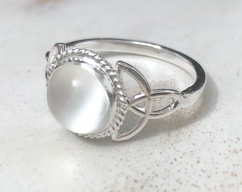 Moonstone Celtic Sterling Silver Ring, Irish Celtic Knot Rings with Gemstone