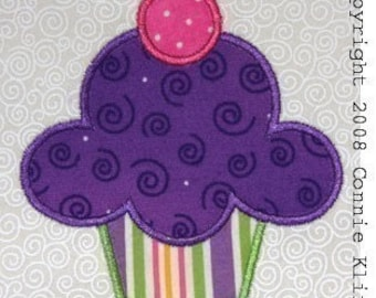 Happy Birthday cupcake with cherry machine applique embroidery design 4x4 hoop