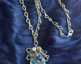 Blue Wire-Wrapped River Glass Octopus Necklace