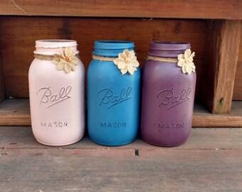 Mason Jar, Mason Jar Decor, Mason Jar Centerpieces, Rustic Decor, Rustic Home Decor, Mason Jar Accessories, Mason Jar Gifts, Painted Mason
