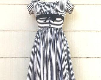 Vintage White and Black Striped Party Dress, Pixie of California Rockabilly Dress, Size XXS, circa 1950s-1960s