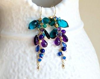 Peacock Cluster Earrings, Teal Gemstone Earrings, Amethyst Cluster Dangle, Bohemian Cluster Earrings
