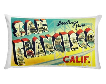 San Francisco Pillow Cover 20x12, Wanderlust Pillows, California Decor Mid Century Modern San Francisco Gifts Lumbar Pillow, Rectangular