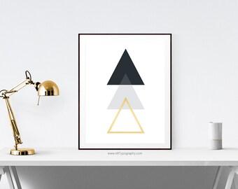 Minimalist Print, Abstract Wall Art, Minimalist Wall Art, Triangle Print, Geometric Art, Cadre, Home Decor, Printable  Art, Instant Download