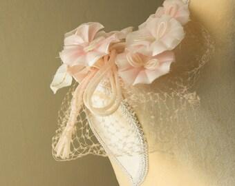 Vintage Pink Floral Birdcage Veil