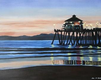 Art Print Original Painting Pier Sunset Reflections Ocean Beach