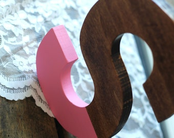 Paint dipped wood monogram, ANY LETTER, six color options, hand cut, hand painted