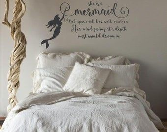 She Is A Mermaid Wall Art Words, Vinyl Lettering Decals, Kids, Wall Decal. Nursery Wall Decal. Vinyl Sticker Decals, Baby Girl Room