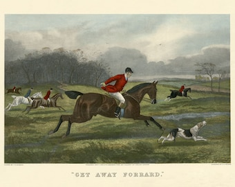 Horse Fox Hunting Scene with dogs Get Away Forrard Fine Art from an Engraving Poster Repro FREE SHIPPING