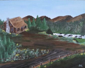 Secluded Log Cabin Mountain Overlook landscape